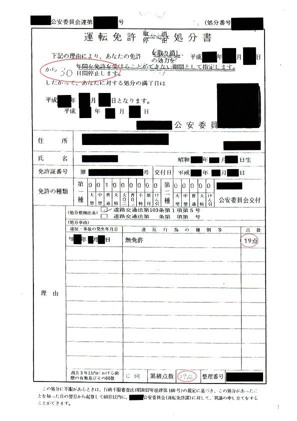 中型無免許違反軽減処分書F